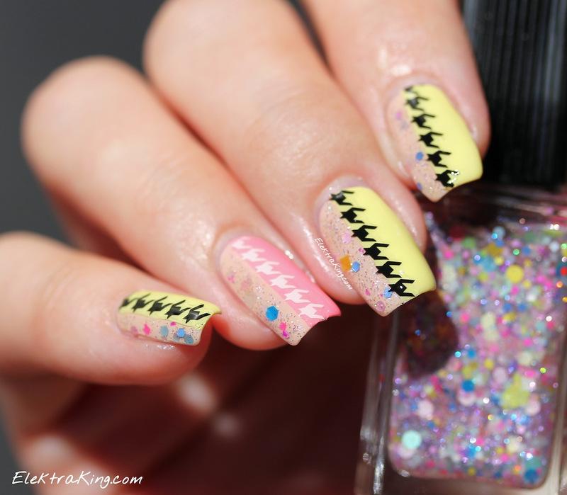 Summery Houndstooth nail art by Elektra King