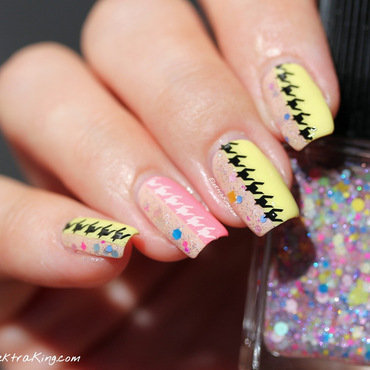 Summery Houndstooth nail art by Elektra King