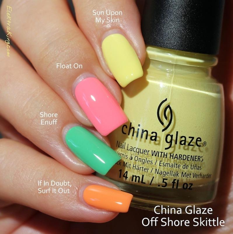 China Glaze Sun upon my skin, China Glaze Shore enuff, China Glaze Float on, and China Glaze If In Doubt, Surf It Out Swatch by Elektra King