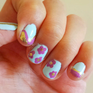 Light Blue, Purple Flowers, and Gold Accents nail art by Colorwaves
