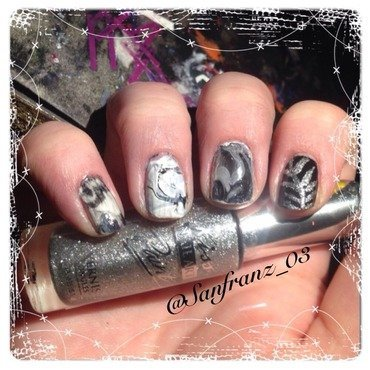 Black and white watermarble! nail art by Sandy