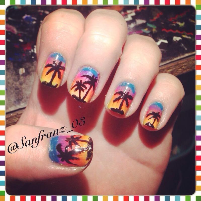 Beach mani! nail art by Sandy