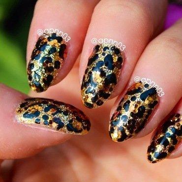 Leopard Glitter Sass nail art by Amanda