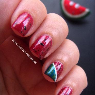 Watermelon nail art by Dora Cristina Fernandes