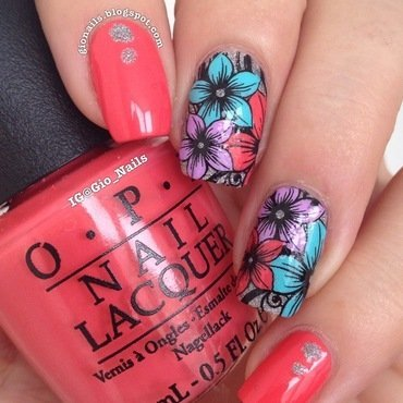 Exotic Flowers nail art by Giovanna - GioNails