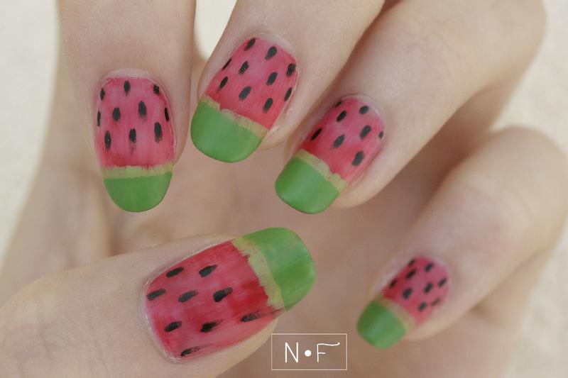 Matte watermelon nails nail art by NerdyFleurty
