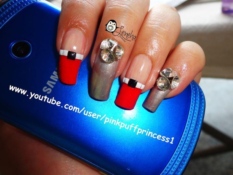 Japanese Nail Art with Studs nail art by Leneha Junsu