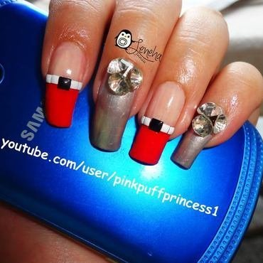 Japanese Nail Art with Studs nail art by Leneha Junsu