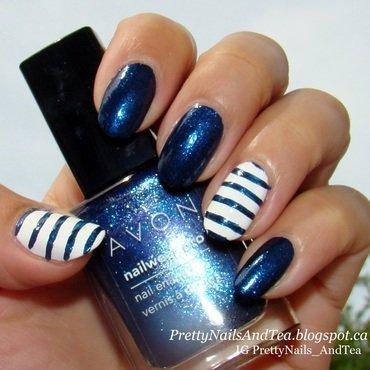 Simple Nautical Nails nail art by PrettyNailsAndTea