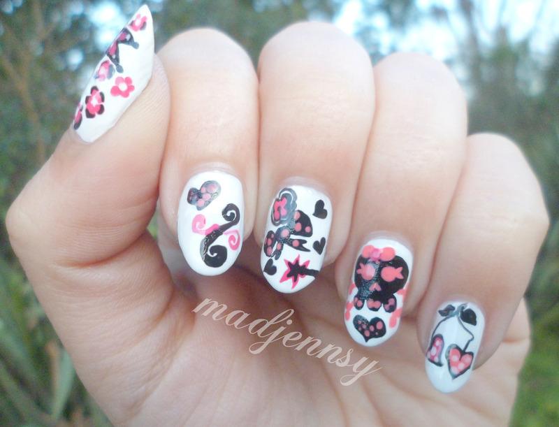 Girlish Skull Nail Art nail art by madjennsy Nail Art