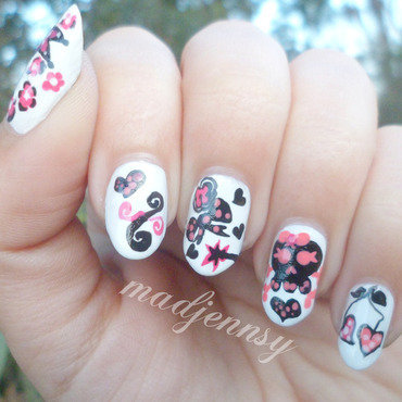 Girlish Skull Nail Art nail art by madjennsy Nail Art