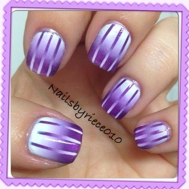 Purple Recipricol Gradient nail art by Riece