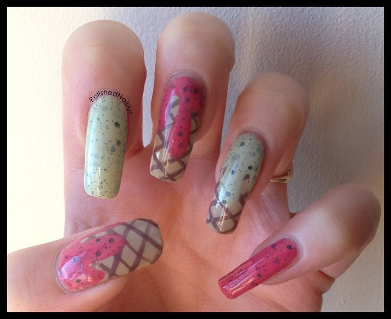 Ice cream nails nail art by Carrie