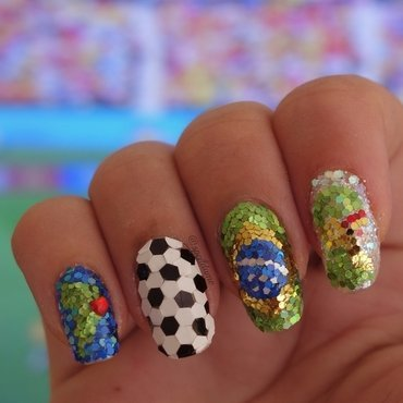 World Cup 2014 nail art by Sparkly Nails by Spejldame