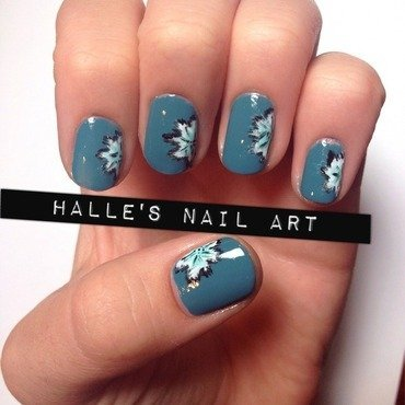 Blue Blooms nail art by Halle Butler
