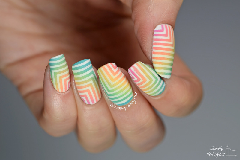Rainbow corner gradient with right angle directional corners nail art by simplynailogical