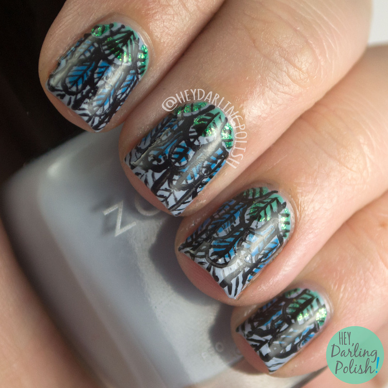 Fly Away Feathers nail art by Marisa  Cavanaugh