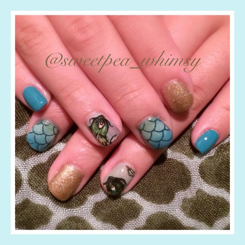 Aqua Fish Nails nail art by SweetPea_Whimsy
