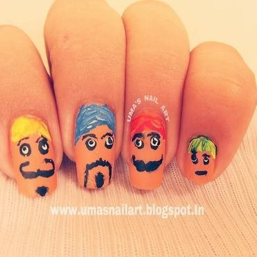 Mustache Nails.. nail art by Uma mathur