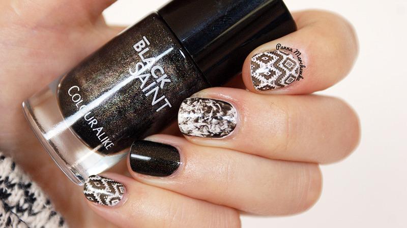 aztec saran wrap nail art by Panna Marchewka