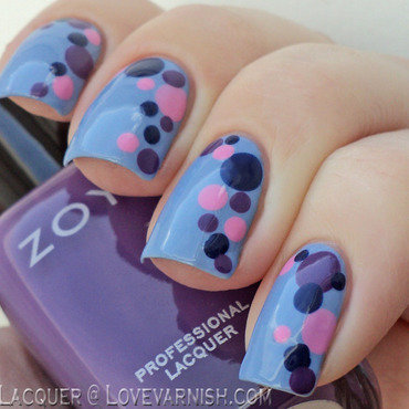Blue  Pink and purple dotticure nail art by Loqi
