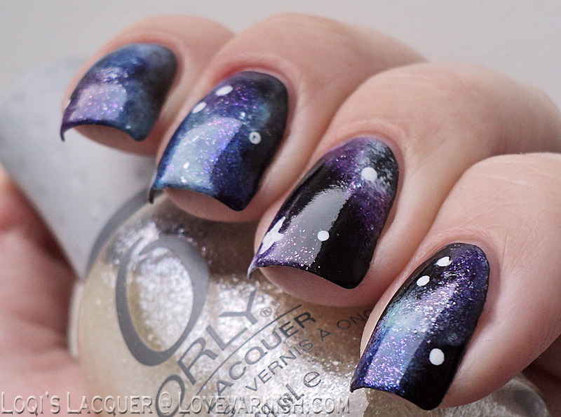 Galaxy nails nail art by Loqi