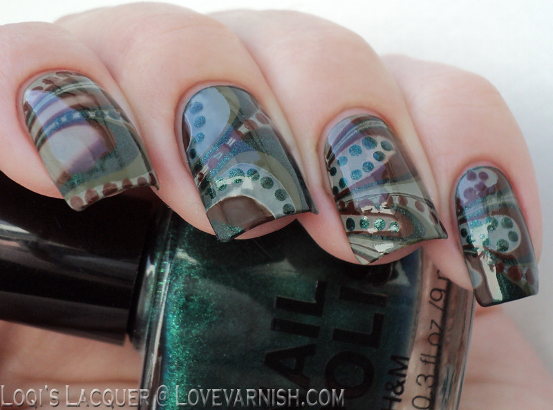 Green and brown water mable nail art by Loqi