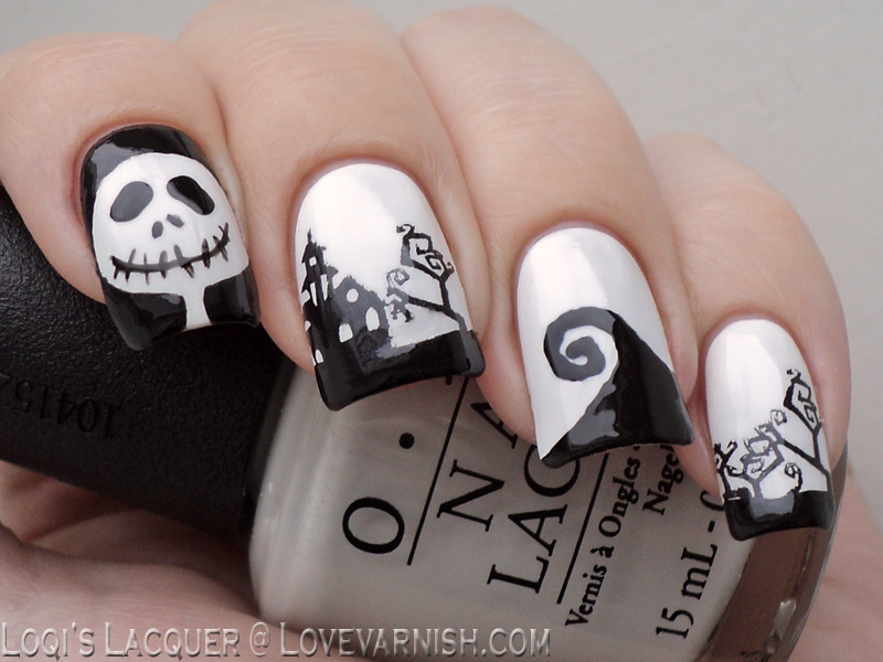 Nightmare before Christmas freehand and stamping nail art by Loqi ...