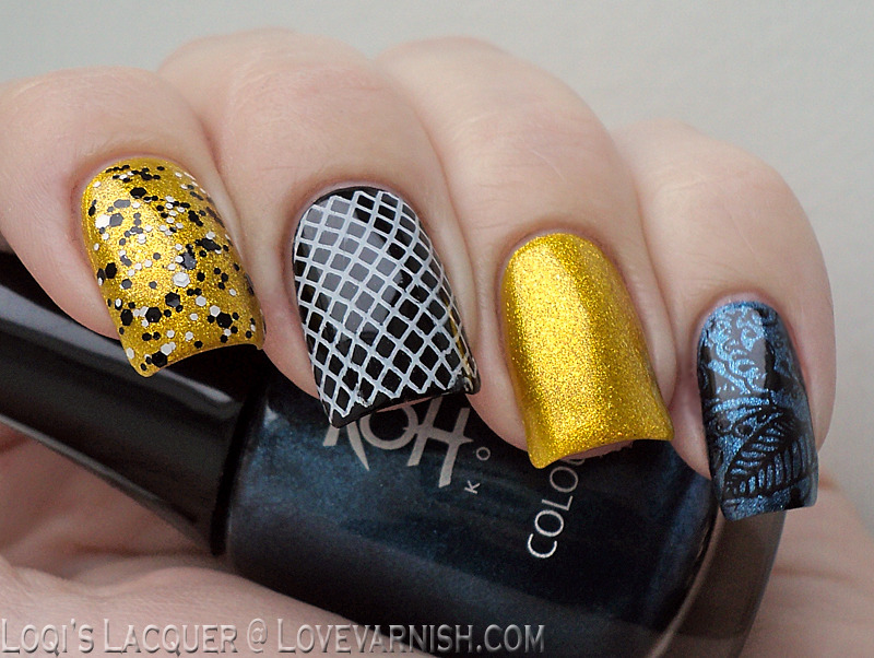 Black, white, yellow and blue skittlette nail art by Loqi