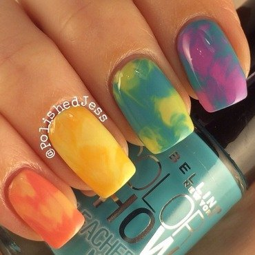 Rainbow Saran Wrap nail art by PolishedJess