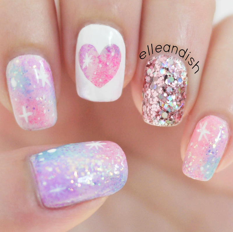 Pink Galaxy Nail Art (no nail art tools needed) nail art by elleandish
