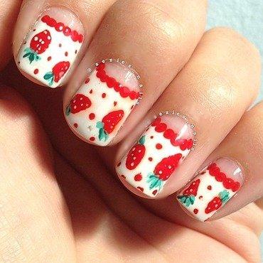 Strawberries  nail art by Sarah Bellwood