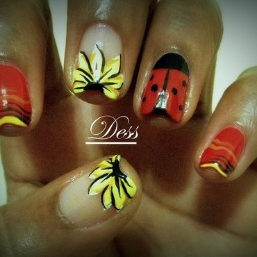 LADYBUG AND SUNFLOWERS nail art by Dess_sure