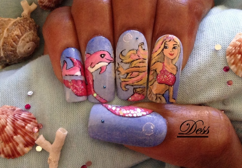 "From the movie ""Barbie in a mermaid tale."" nail art by Dess_sure"