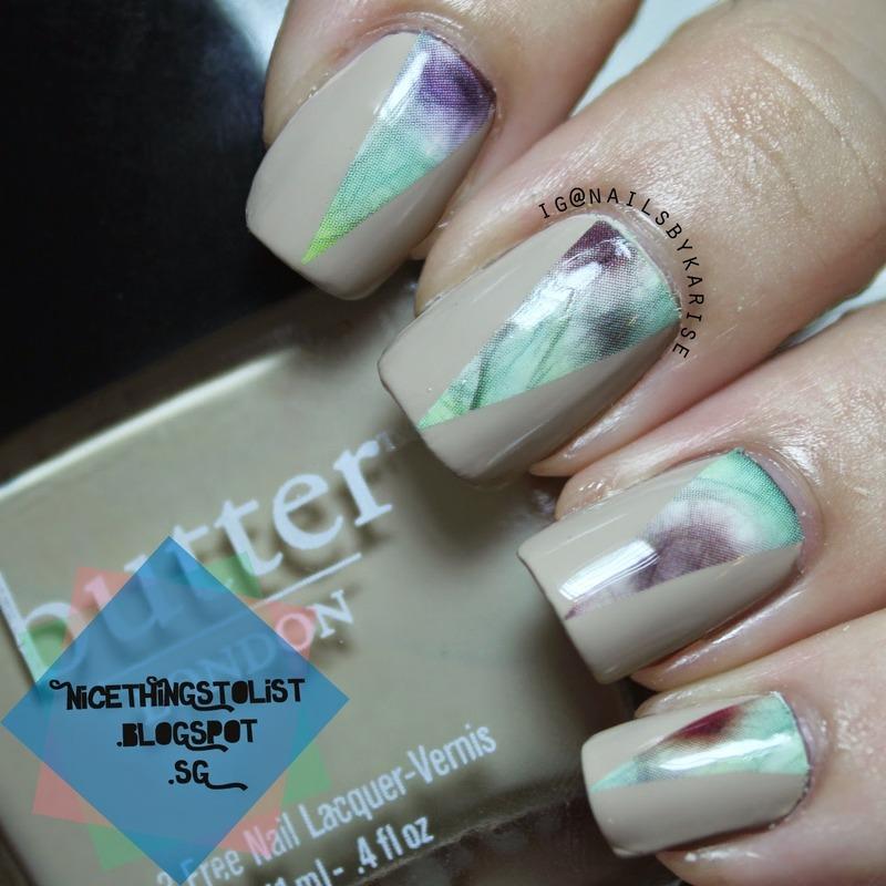 Soft floral nail art nail art by Karise Tan