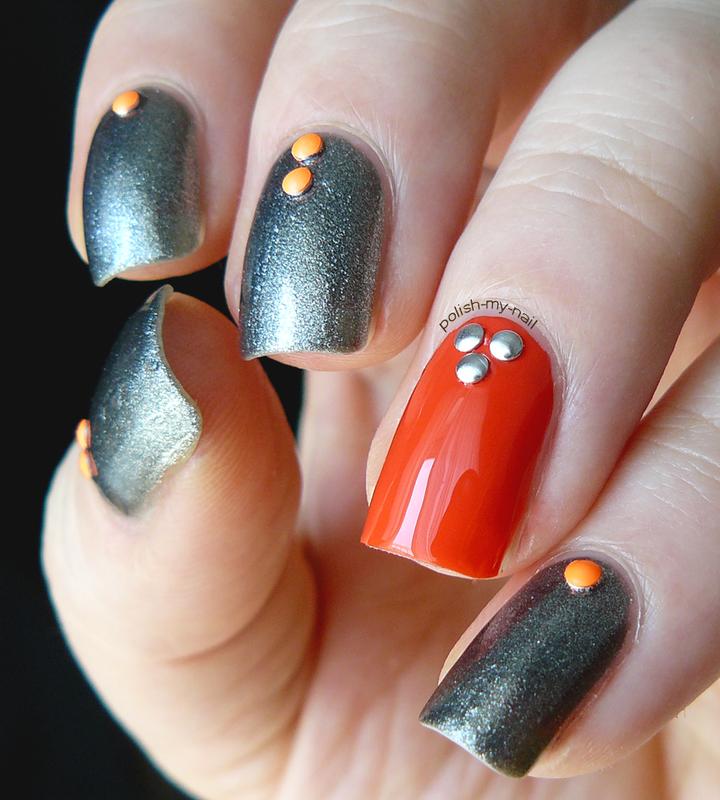 Steel oranges nail art by Ewlyn