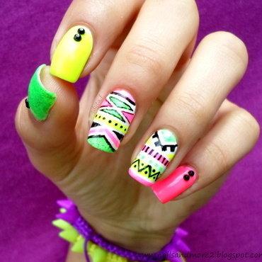 neon aztec nail art by Edyta