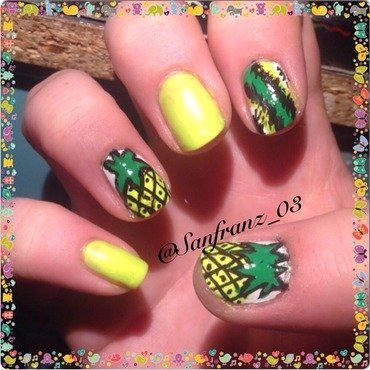 Pineapple and ikat nail art! nail art by Sandy