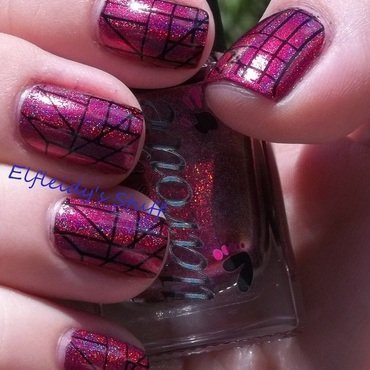 Straight lines, holo, and multichrome nail art by Jenette Maitland-Tomblin