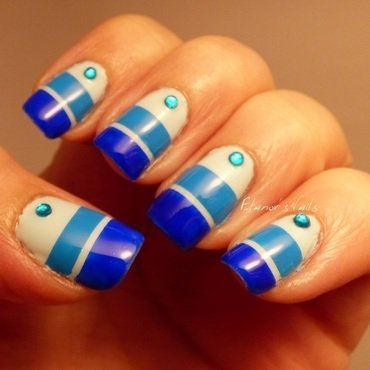 Blue Stripes with Rhinestones nail art by Ginger_Elanor