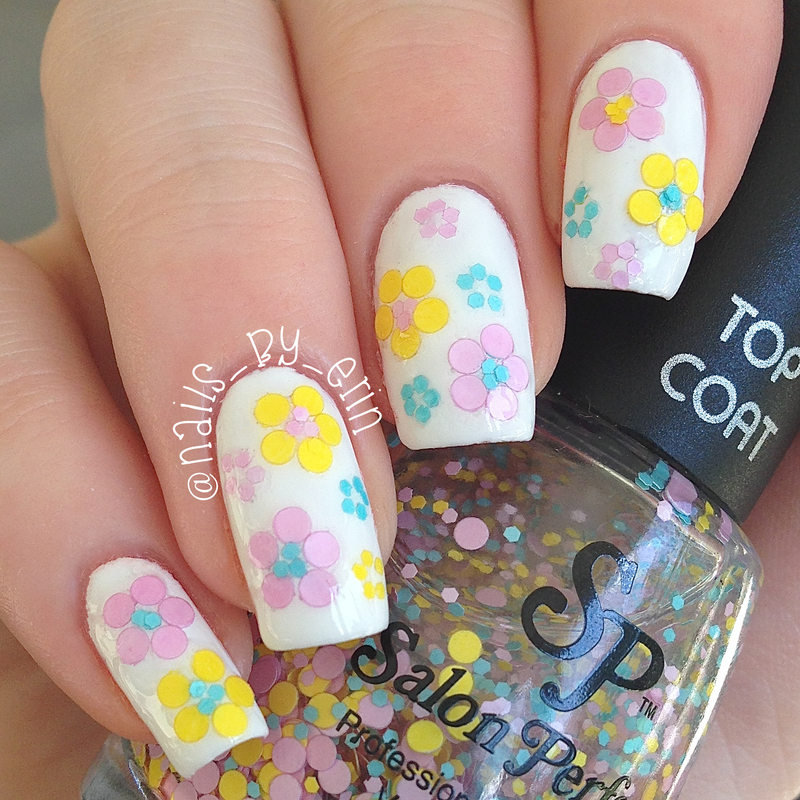 """""""Flower Power"""" Glitter Placement Nails nail art by Erin"""
