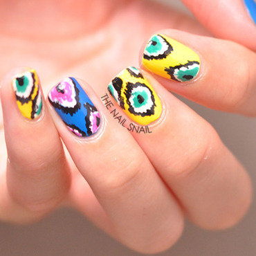Ikat Nails nail art by Lucy (the Nail Snail)