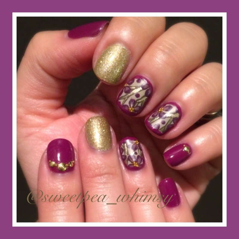 Purple Blossoms & Gold nail art by SweetPea_Whimsy