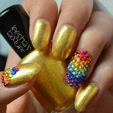 Gold at the end of the Rainbow nail art by Leesha