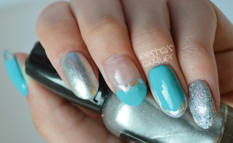 Baby Blue and Silver Skittle nail art by Leesha