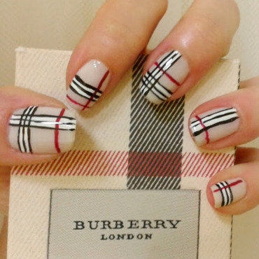 Burberry London nails nail art by Km.Lucy