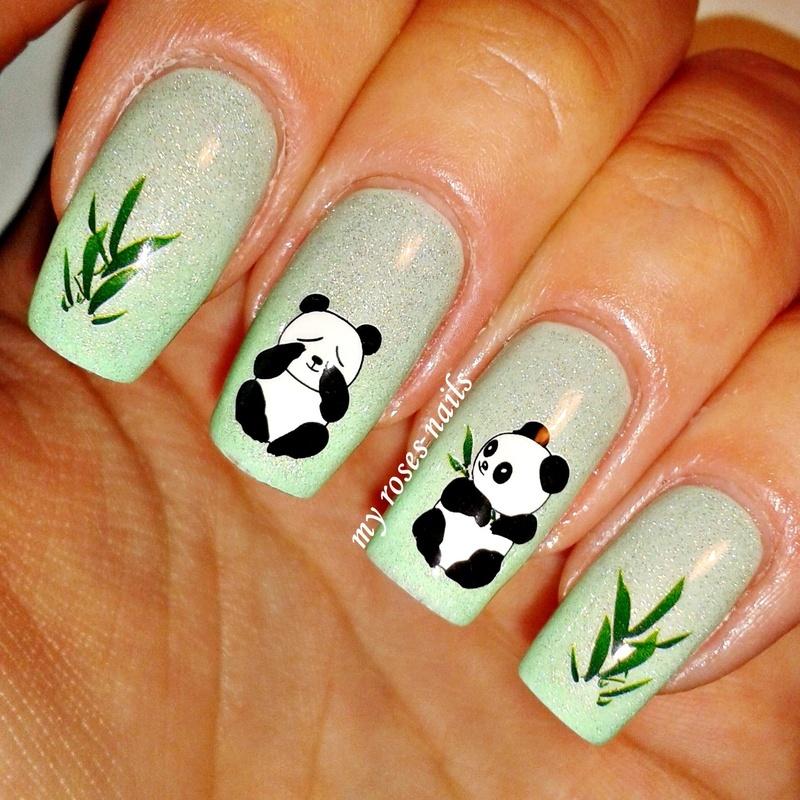 Cute pandas nail art by Ewa