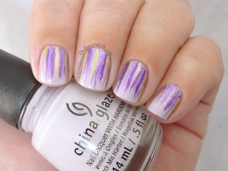 Lilac waterfall nail art by Michelle