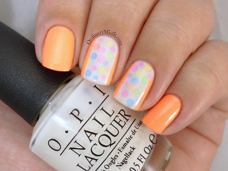 Neon polka dots nail art by Michelle