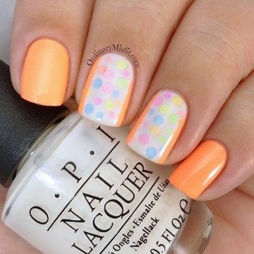 Neon polka dots nail art by Michelle